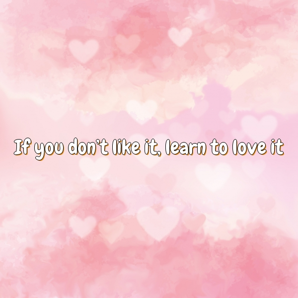 If you don't like it, learn to love it