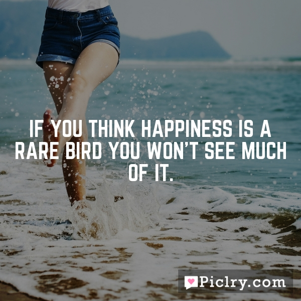 If you think happiness is a rare bird you won't see much of it.