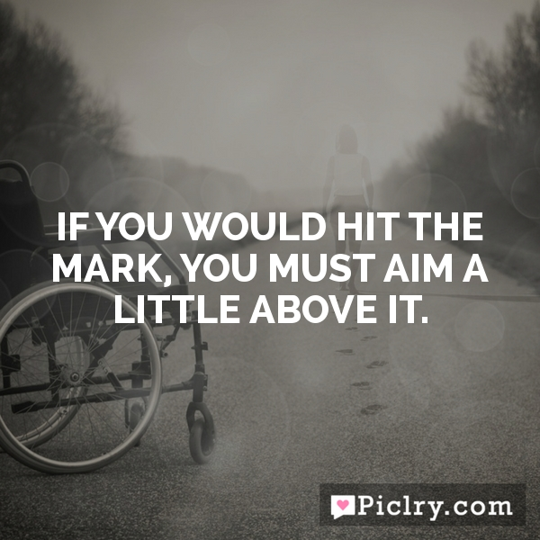 If you would hit the mark, you must aim a little above it.