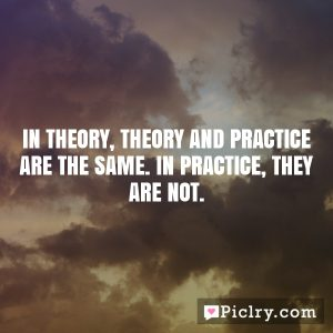 In theory, theory and practice are the same. In practice, they are not.