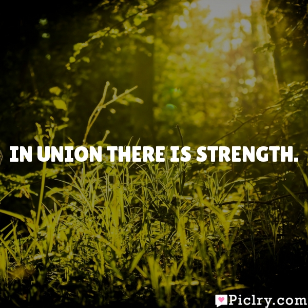 In union there is strength.