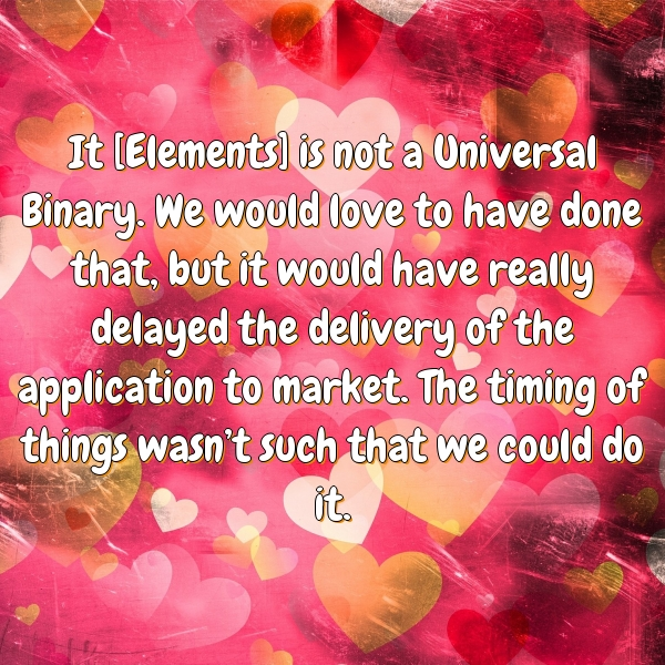 It [Elements] is not a Universal Binary. We would love to have done that, but it would have really delayed the delivery of the application to market. The timing of things wasn't such that we could do it.