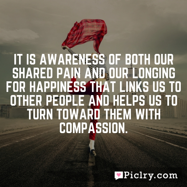 It is awareness of both our shared pain and our longing for happiness that links us to other people and helps us to turn toward them with compassion.