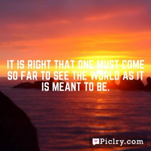 It is right that one must come so far to see the world as it is meant to be.