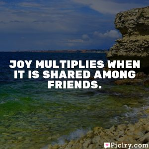 Joy multiplies when it is shared among friends.