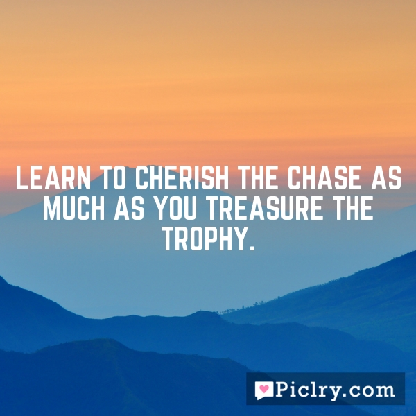 Learn to cherish the chase as much as you treasure the trophy.