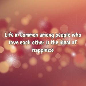 Life in common among people who love each other is the ideal of happiness