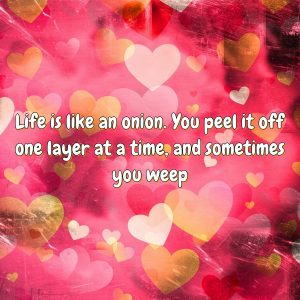 Life is like an onion. You peel it off one layer at a time, and sometimes you weep