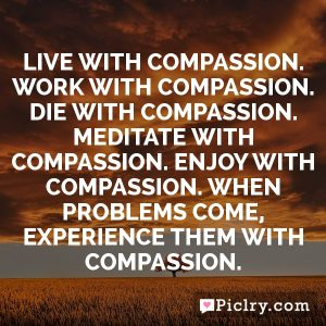 Live with compassion. Work with compassion. Die with compassion. Meditate with compassion. Enjoy with compassion. When problems come, experience them with compassion.