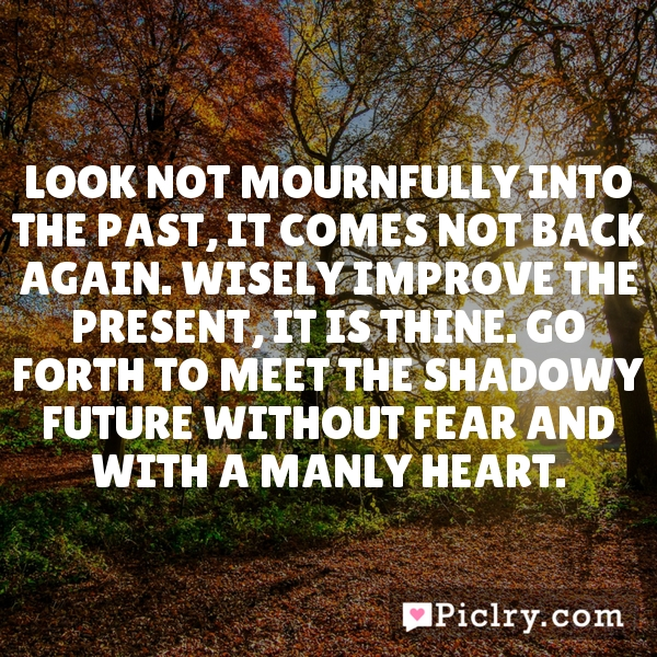 Look not mournfully into the past, it comes not back again. Wisely improve the present, it is thine. Go forth to meet the shadowy future without fear and with a manly heart.