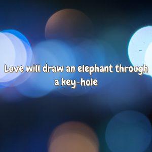 Love will draw an elephant through a key-hole