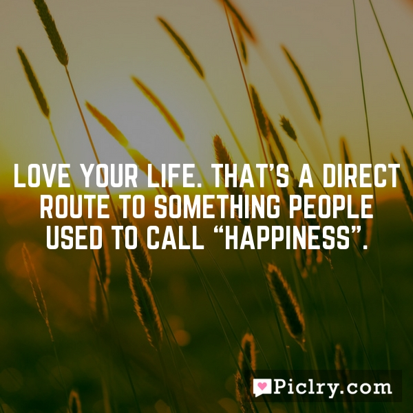"""Love your life. That's a direct route to something people used to call """"happiness""""."""