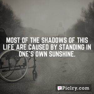 Most of the shadows of this life are caused by standing in one's own sunshine.