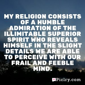 My religion consists of a humble admiration of the illimitable superior spirit who reveals himself in the slight details we are able to perceive with our frail and feeble mind.