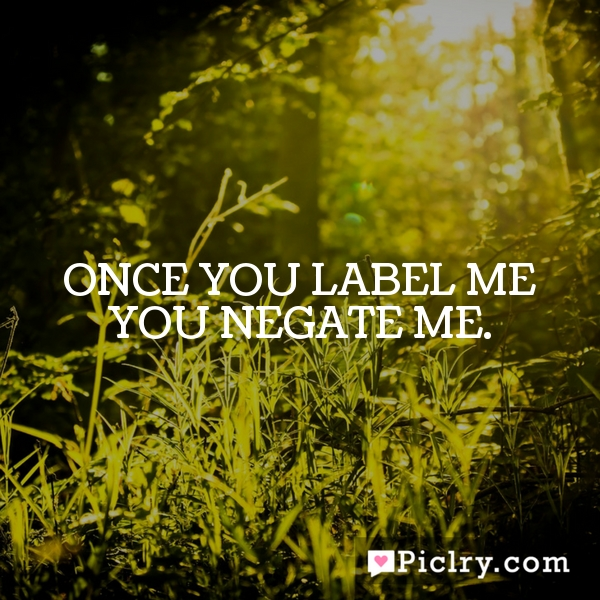 Once you label me you negate me.