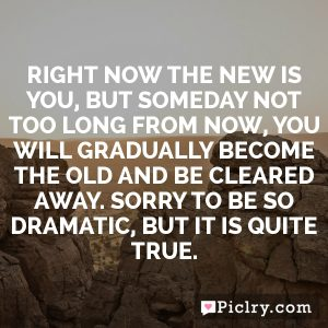 Right now the new is you, but someday not too long from now, you will gradually become the old and be cleared away. Sorry to be so dramatic, but it is quite true.
