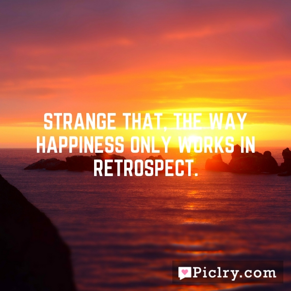 Strange that, the way happiness only works in retrospect.