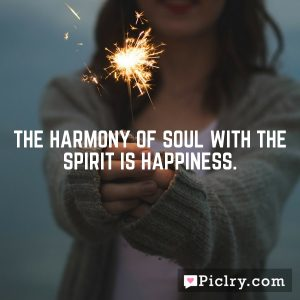The harmony of soul with the spirit is Happiness.