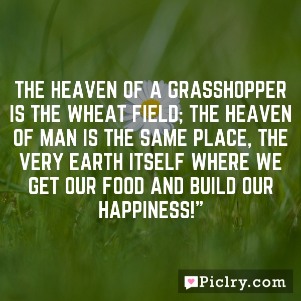 The heaven of a grasshopper is the wheat field; the heaven of man is the same place, the very earth itself where we get our food and build our happiness!""