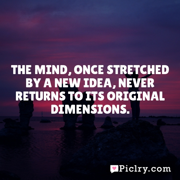 The mind, once stretched by a new idea, never returns to its original dimensions.