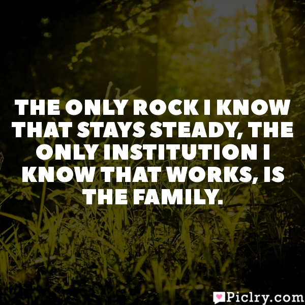 The only rock I know that stays steady, the only institution I know that works, is the family.