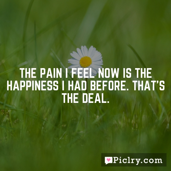 The pain I feel now is the happiness I had before. That's the deal.