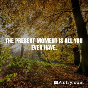 The present moment is all you ever have.