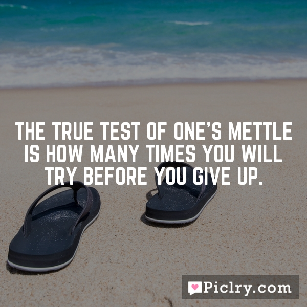 The true test of one's mettle is how many times you will try before you give up.