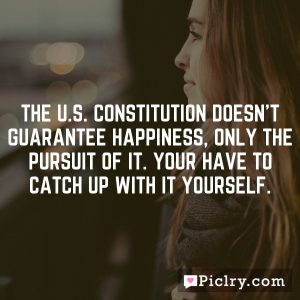 The U.S. Constitution doesn't guarantee happiness, only the pursuit of it. Your have to catch up with it yourself.