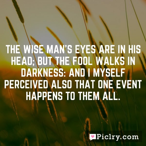 The wise man's eyes are in his head; but the fool walks in darkness: and I myself perceived also that one event happens to them all.