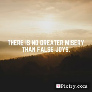 There is no greater misery than false joys.