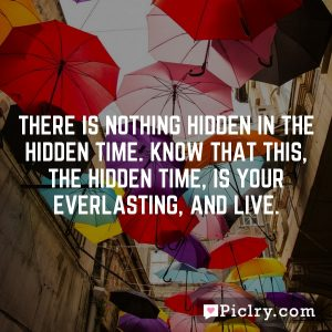 There is nothing hidden in the hidden time. Know that this, the hidden time, is your everlasting, and live.