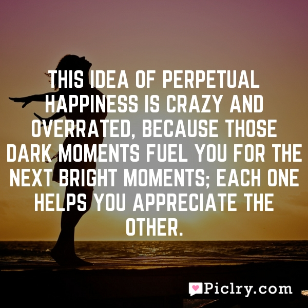 This idea of perpetual happiness is crazy and overrated, because those dark moments fuel you for the next bright moments; each one helps you appreciate the other.