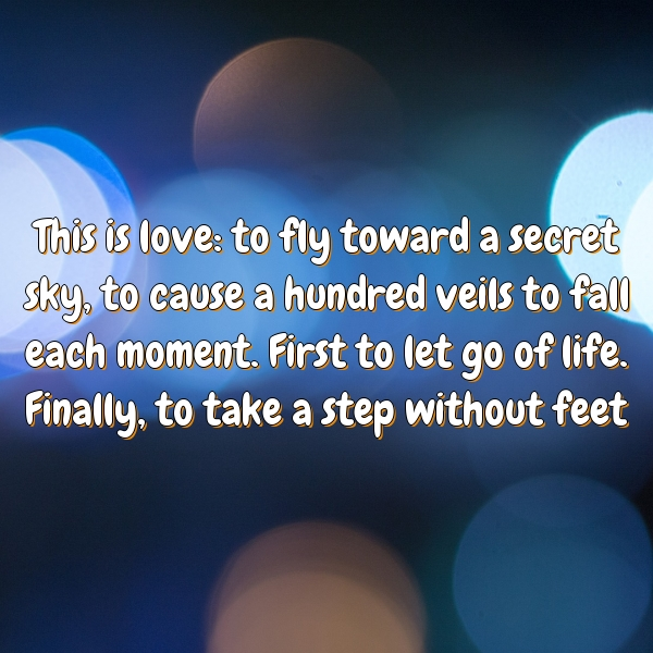 This is love: to fly toward a secret sky, to cause a hundred veils to fall each moment. First to let go of life. Finally, to take a step without feet