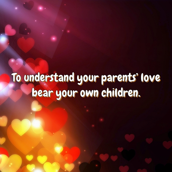 To understand your parents' love bear your own children.