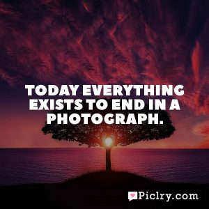 Today everything exists to end in a photograph.
