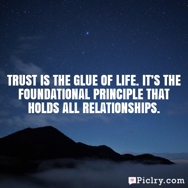 Trust is the glue of life. It's the foundational principle that holds all relationships.