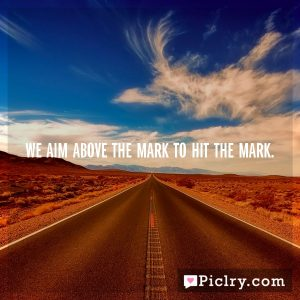 We aim above the mark to hit the mark.