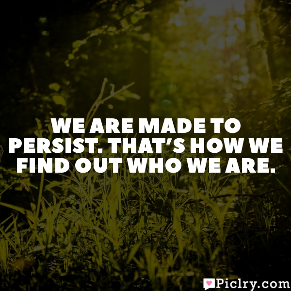 We are made to persist. That's how we find out who we are.