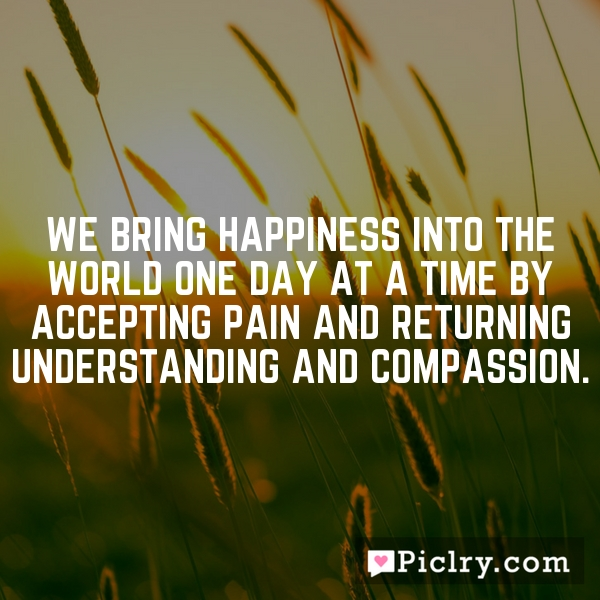 We bring happiness into the world one day at a time by accepting pain and returning understanding and compassion.