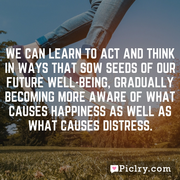 We can learn to act and think in ways that sow seeds of our future well-being, gradually becoming more aware of what causes happiness as well as what causes distress.