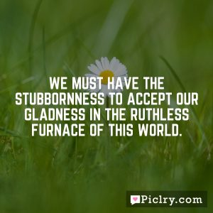 We must have the stubbornness to accept our gladness in the ruthless furnace of this world.