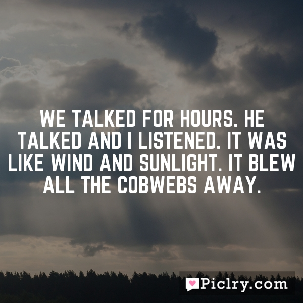 We talked for hours. He talked and I listened. It was like wind and sunlight. It blew all the cobwebs away.
