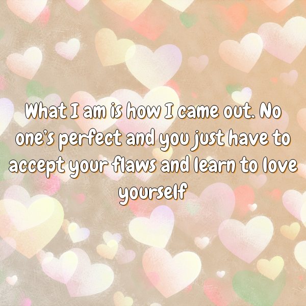 What I am is how I came out. No one's perfect and you just have to accept your flaws and learn to love yourself