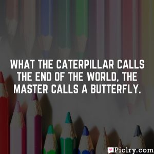 What the caterpillar calls the end of the world, the master calls a butterfly.