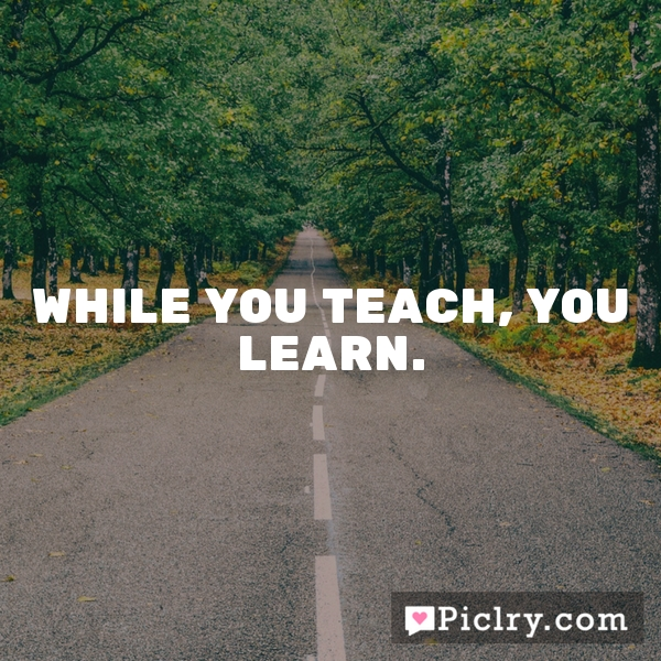 While you teach, you learn.