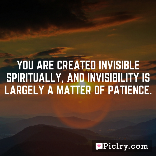 You are created invisible spiritually, and invisibility is largely a matter of patience.