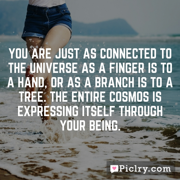 You are just as connected to the Universe as a finger is to a hand, or as a branch is to a tree. The entire cosmos is expressing itself through your being.