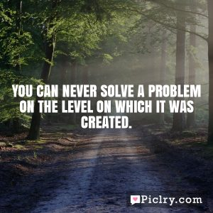 You can never solve a problem on the level on which it was created.