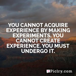 You cannot acquire experience by making experiments. You cannot create experience. You must undergo it.